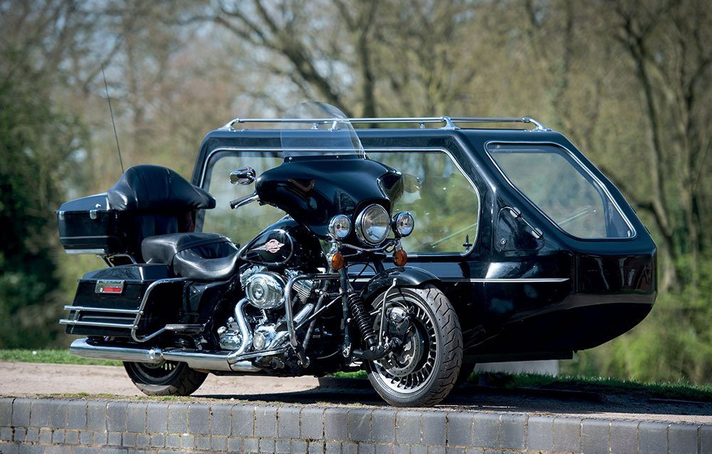 harley davidson motorbike with hearse sidecar