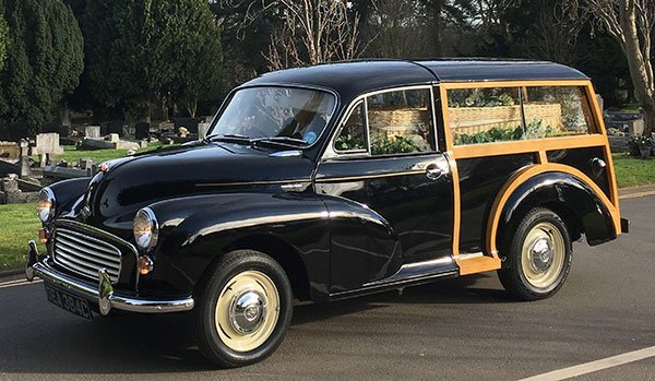morris minor with coffin