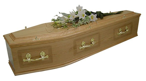 Oak veneer coffin