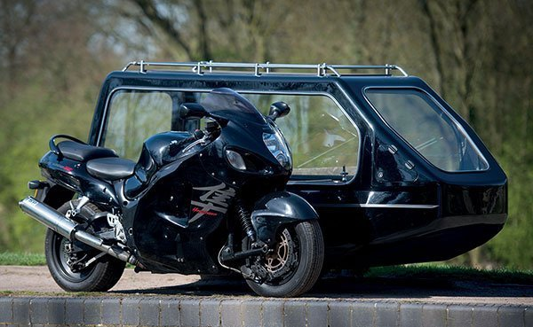 suzuki motorbike with hearse sidecar