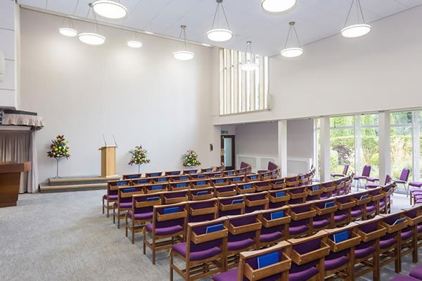 Internal view of Worcester Crematorium